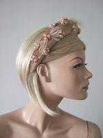 Nude Rose Gold Wide Velvet Embellished Headband, Padded Headband, Thick Padded Headband. Autumn Wedding Guest Outfit Idea. Velvet Fascinator. Nude Fascinator, Rose Gold Velvet Headband